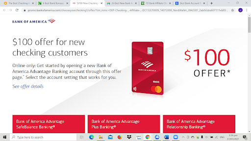 best checking account promotions bank of america